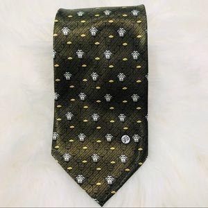 Versace Tie with Medusa Logo 100% Silk Green EUC